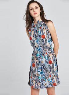 岸岸时装CAYLAR女装印花立领连衣裙