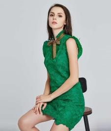 岸岸时装CAYLAR女装绿色无袖连衣裙