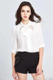 岸岸时装CAYLAR女装白色系带衬衫