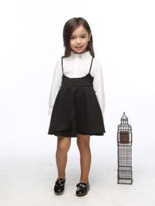 小猪班尼童装黑色吊带女裙