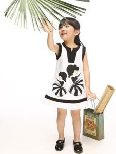 小猪班尼童装白色印花女裙