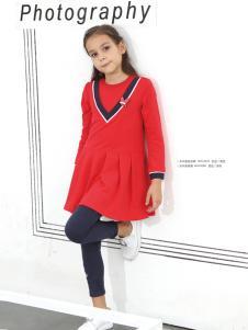 2018杰米熊女童红色韩版裙子