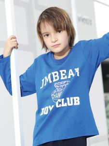 2018杰米熊童装字母印花蓝色上衣