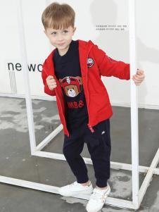 2018杰米熊童装男童红色夹克