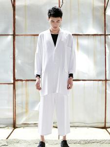 集盒男装白色宽松休闲外套