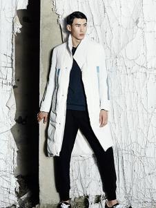 集盒男装白色中长款棉衣