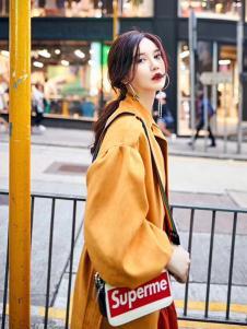 贝左女装黄色宽松长款风衣