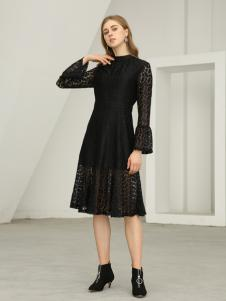 欧米媞女装新款修身长裙优雅显瘦镂空长袖蕾丝连衣裙