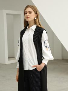 欧米媞女装新款秋冬新款西装马甲女 中长款 无袖条纹马甲