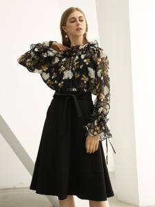 欧米媞女装新款秋冬新款女装连衣裙星空印花中裙两件套圆领