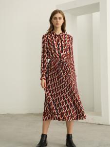欧米媞女装新款秋冬韩版气质立领系带收腰印花长袖中长款大摆连衣裙