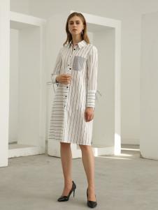 欧米媞女装新款秋冬条纹衬衫女长袖 竖条纹中长款白色宽松