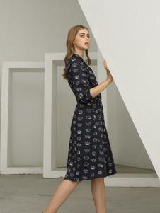 欧米媞女装新款秋冬立领长袖灯芯绒小碎花连衣裙中长款印花打底裙