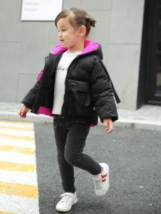 童衣汇童装女童短款黑色棉衣