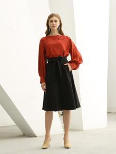 欧米媞女装新款秋冬七分袖连衣裙高腰微弹撞色A字裙