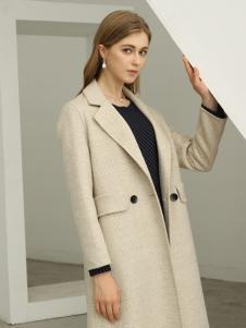 欧米媞女装新款秋冬双排扣纯色时尚修身休闲气质毛呢外套
