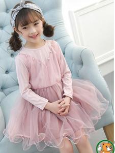 妙尼熊童装粉色珍珠女裙
