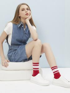 15路站牌红色中长款条纹秋冬针织袜