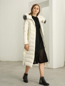 欧米媞女装新款秋冬毛领羽绒服中长款抽绳纯色保暖休闲显瘦外套