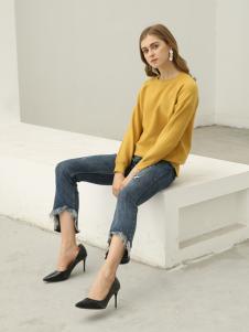 欧米媞女装新款秋冬纯色圆领套头宽松条纹t恤女短款学生上衣