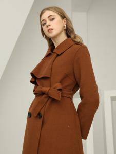 欧米媞女装新款秋冬新款纯手工双面呢纯羊毛翻领驼色大衣