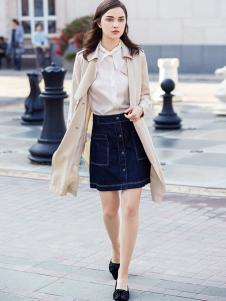 YOSUM衣诗漫女装新款米白色大衣