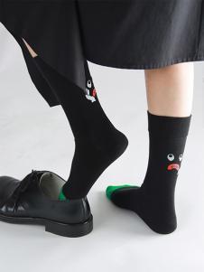 15路站牌黑色秋冬针织袜