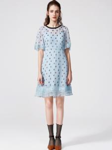 2018季候风蓝色波点连衣裙