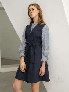 欧米媞女装新款秋冬韩版收腰修身小个子气质高腰a字连衣裙