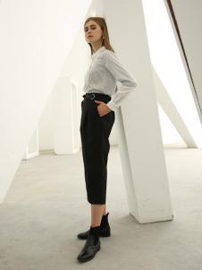 欧米媞女装新款秋冬系带V领无袖阔腿七分连体裤