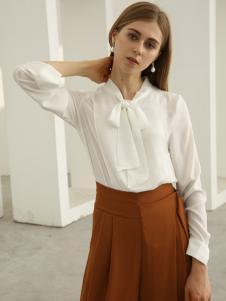 欧米媞女装新款秋冬新款白色长袖百搭修身雪纺衫