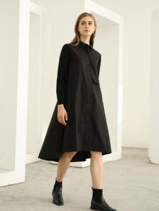 欧米媞女装新款秋冬黑色解构风不规则长款衬衫连衣裙风衣外套