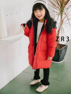 童衣汇童装女童红色长款羽绒服