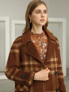 欧米媞女装新款秋冬复古宽松中长款格子毛呢子大衣女外套
