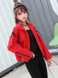 YOSUM衣诗漫秋冬新款时尚气质红色外套