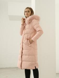 欧米媞女装2018秋冬新款中长款连帽毛领羽绒服保暖时尚