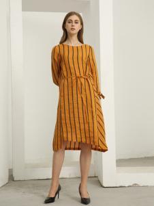 欧米媞女装新款秋冬条纹荷叶边喇叭袖深V连衣裙