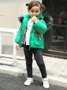 童衣匯女童綠色棉衣