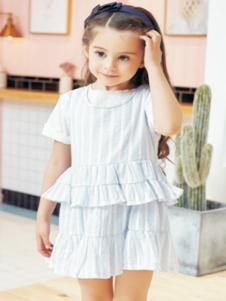 嘟拉嘟拉童装白色甜美女裙