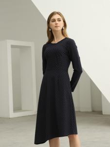 欧米媞女装新款秋冬圆领长袖气质优雅系带中长裙