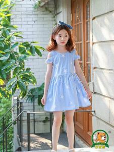 妙尼熊童装蓝色星星露肩连衣裙