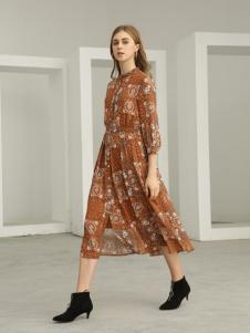 欧米媞女装新款秋冬印花拼接长袖假两件长裙