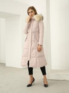 欧米媞女装2018秋冬粉色中长款羽绒服连帽时尚韩版连帽外套