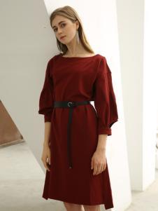 欧米媞女装新款秋冬开叉袖中长款桑蚕丝收腰裙