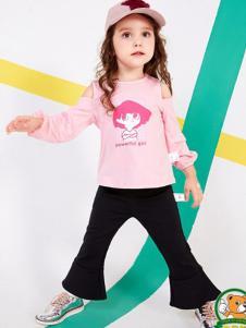 妙尼熊童装粉色露肩T恤
