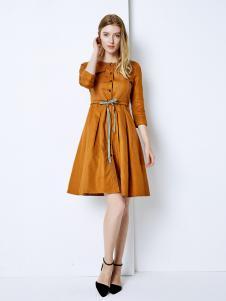 YOSUM衣诗漫女装新款气质休闲焦糖色连衣裙