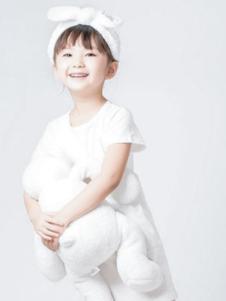 嘟拉嘟拉童装白色短袖女裙