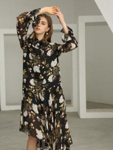 欧米媞女装新款秋冬新款时尚修身韩版气质百搭两件套碎花连衣裙