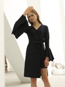 欧米媞女装新款秋冬九分袖条纹绑带连衣裙中长裙