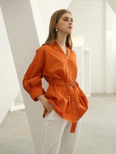 欧米媞女装新款秋冬中长款翻领长袖衬衫衬衣收腰系带显瘦排扣开衫